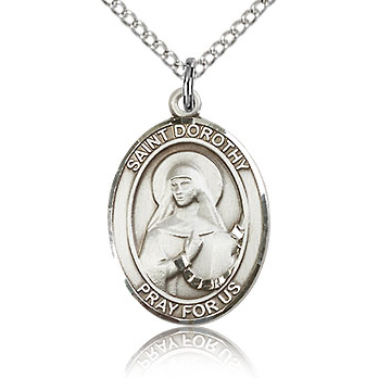 Sterling Silver 3/4in St Dorothy Medal & 18in Chain