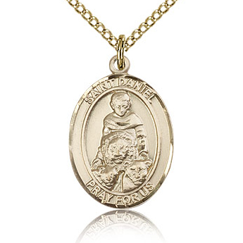 Gold Filled 3/4in St Daniel Medal & 18in Chain