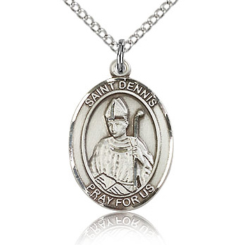 Sterling Silver 3/4in St Dennis Medal & 18in Chain