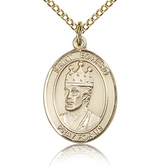 Gold Filled 3/4in St Edward Medal & 18in Chain