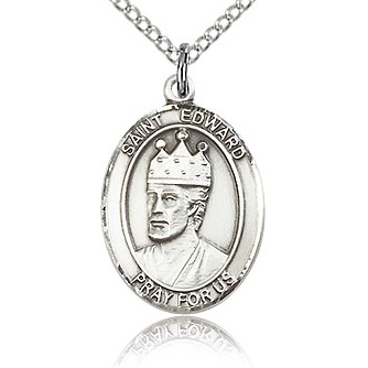 Sterling Silver 3/4in St Edward Medal & 18in Chain