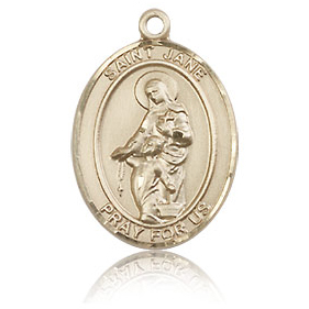 14kt Yellow Gold 3/4in St Jane Medal