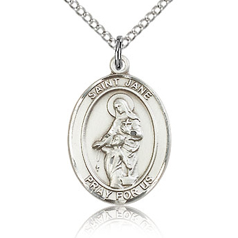 Sterling Silver 3/4in St Jane Medal & 18in Chain
