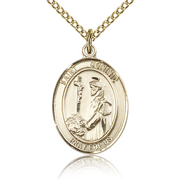 Gold Filled 3/4in St Dominic Medal & 18in Chain