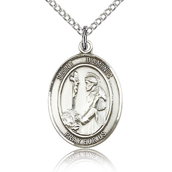 Sterling Silver 3/4in St Dominic Medal & 18in Chain