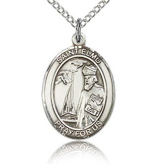 Sterling Silver 3/4in St Elmo Medal & 18in Chain