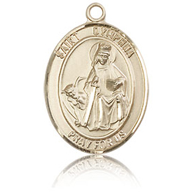 14kt Yellow Gold 3/4in St Dymphna Medal