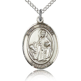 Sterling Silver 3/4in St Dymphna Medal & 18in Chain