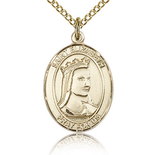 Gold Filled 3/4in Oval St Elizabeth Medal & 18in Chain