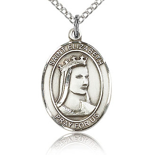 Sterling Silver 3/4in St Elizabeth Medal & 18in Chain