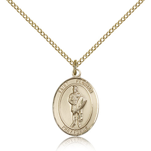 Gold Filled 3/4in St Florian Medal & 18in Chain