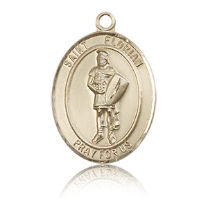 14kt Yellow Gold 3/4in St Florian Medal