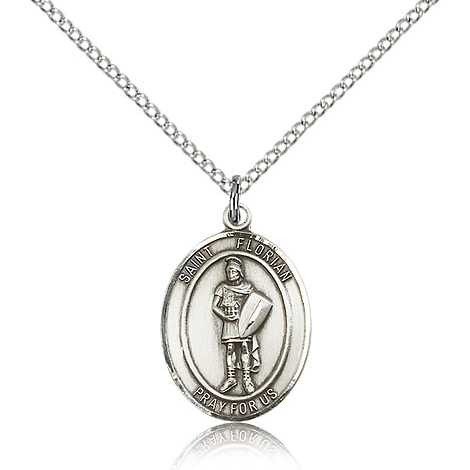 Sterling Silver 3/4in St Florian Medal & 18in Chain