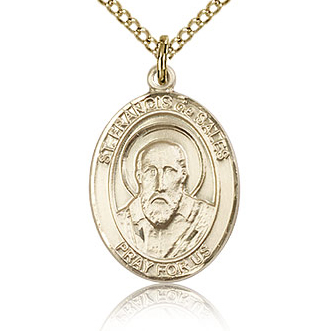 Gold Filled 3/4in St Francis de Sales Medal & 18in Chain