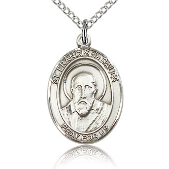 Sterling Silver 3/4in St Francis de Sales Medal & 18in Chain