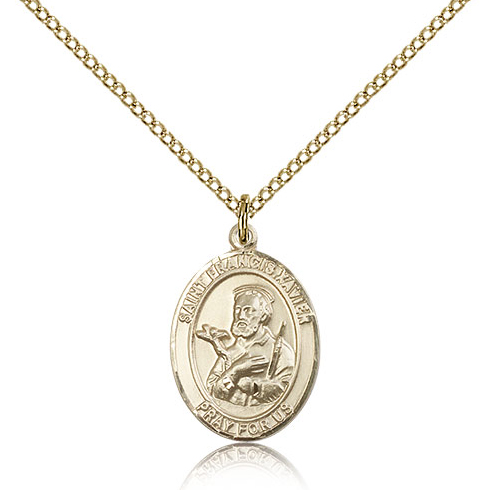 Gold Filled 3/4in St Francis Xavier Medal & 18in Chain