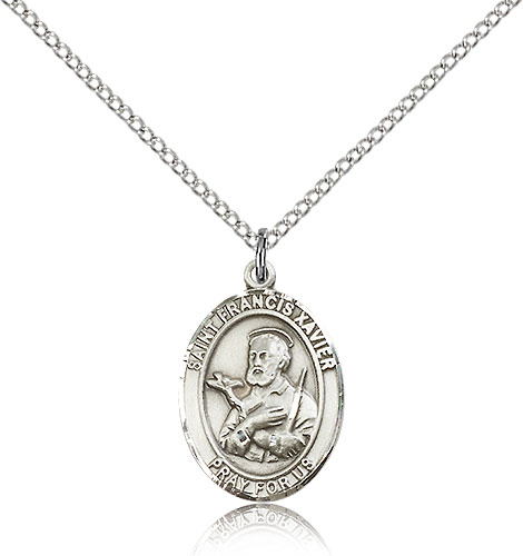 Sterling Silver 3/4in St Francis Xavier Medal & 18in Chain