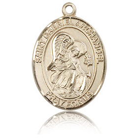 14kt Yellow Gold 3/4in St Gabriel Medal