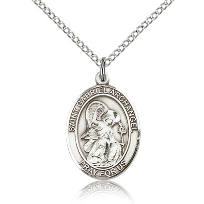Sterling Silver 3/4in St Gabriel Medal & 18in Chain