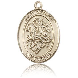14kt Yellow Gold 3/4in St George Medal