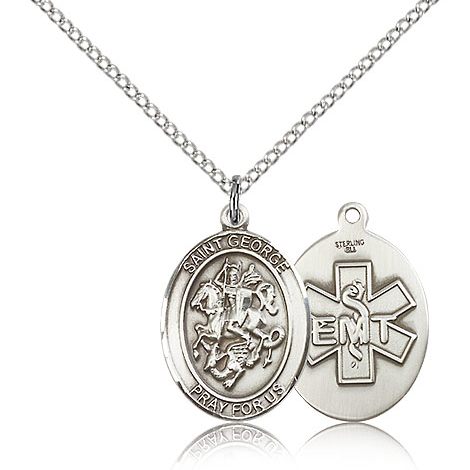 Sterling Silver 3/4in St George EMT Medal & 18in Chain