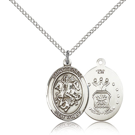 Sterling Silver 3/4in St George Air Force Medal & 18in Chain