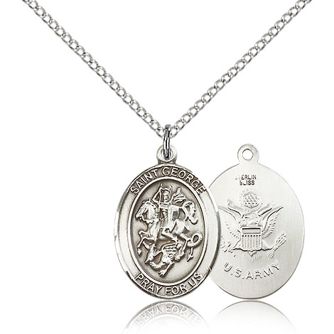 Sterling Silver 3/4in St George Army Medal & 18in Chain