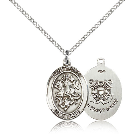 Sterling Silver 3/4in St George Coast Guard Medal & 18in Chain