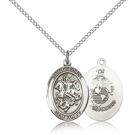 Sterling Silver 3/4in St George Marines Medal & 18in Chain
