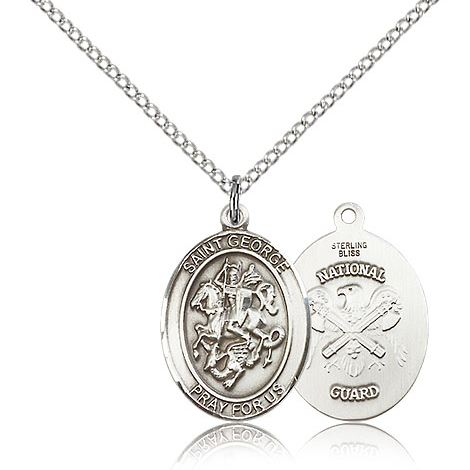 Sterling Silver 3/4in St George National Guard Medal & 18in Chain