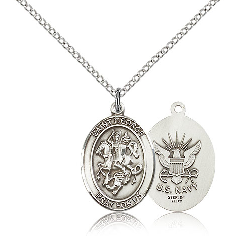 Sterling Silver 3/4in St George Navy Medal & 18in Chain