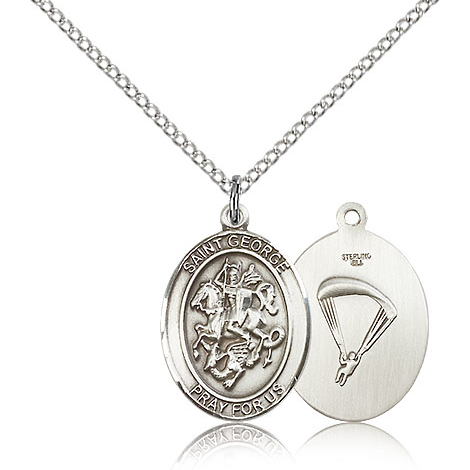 Sterling Silver 3/4in St George Paratrooper Medal & 18in Chain