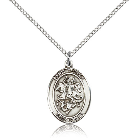Sterling Silver 3/4in St George Medal & 18in Chain