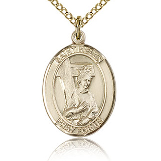 Gold Filled 3/4in St Helen Medal & 18in Chain