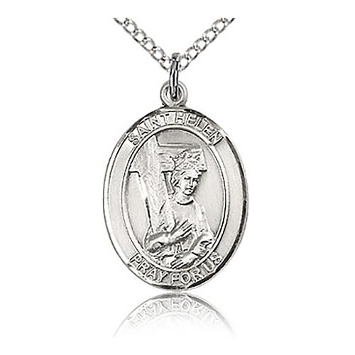Sterling Silver 3/4in St Helen Medal & 18in Chain