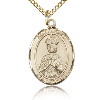 Gold Filled 3/4in St Henry II Medal & 18in Chain