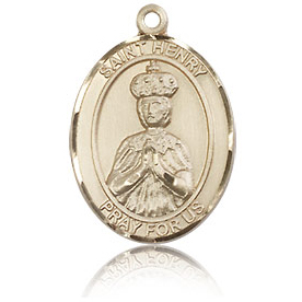 14kt Yellow Gold 3/4in St Henry II Medal