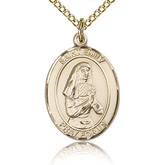 Gold Filled 3/4in St Emily Medal & 18in Chain