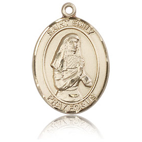14kt Yellow Gold 3/4in St Emily Medal