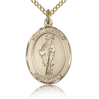 Gold Filled 3/4in St Gregory Medal & 18in Chain