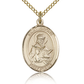 Gold Filled 3/4in St Isidore of Seville Medal & 18in Chain