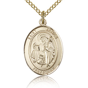 Gold Filled 3/4in St James the Greater Medal & 18in Chain