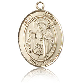 14kt Yellow Gold 3/4in St James the Greater Medal