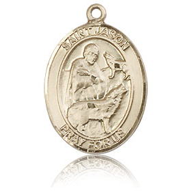14kt Yellow Gold 3/4in St Jason Medal