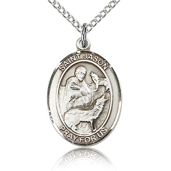 Sterling Silver 3/4in St Jason Medal & 18in Chain