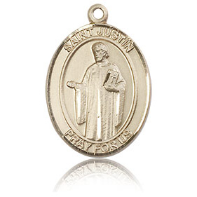 14kt Yellow Gold 3/4in St Justin Medal