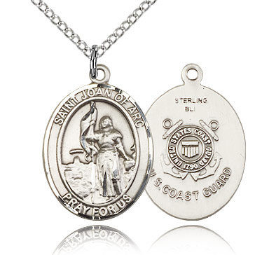 Sterling Silver 3/4in St Joan of Arc Coast Guard Medal & 18in Chain