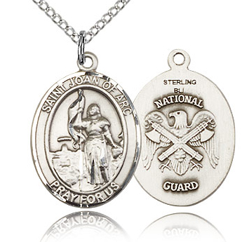 Sterling Silver 3/4in St Joan of Arc National Guard Medal & 18in Chain
