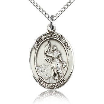 Sterling Silver 3/4in St Joan of Arc Medal & 18in Chain