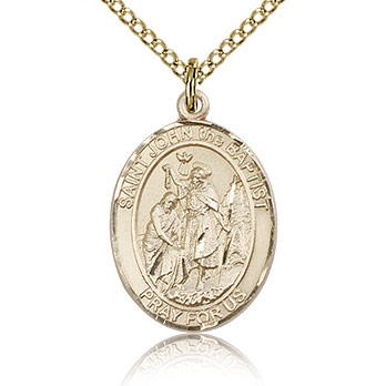 Gold Filled 3/4in St John the Baptist Medal & 18in Chain